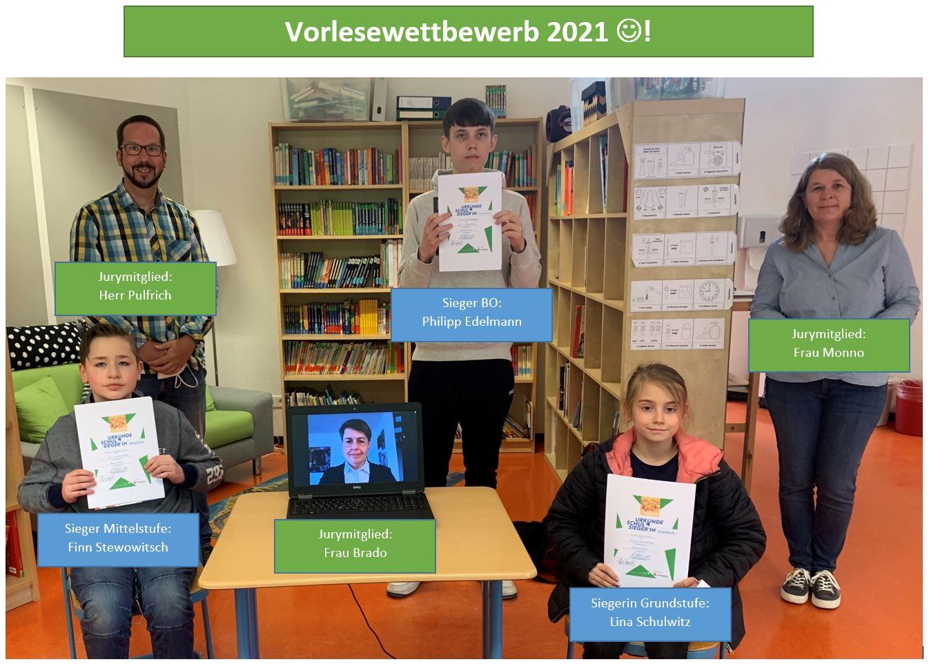 Lina, Finn und Philipp lesen in ihren Stufen am besten – Vorlesewettbewerb an der Schule am Budenberg